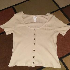 Cream-Tan Button Down Top